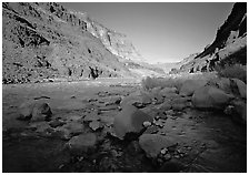 Bottom of Grand Canyon with Tapeats Creek joining  Colorado River. Grand Canyon National Park ( black and white)