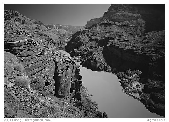 Colorado River between Tapeats Creek and Deer Creek. Grand Canyon  National Park (black and white)