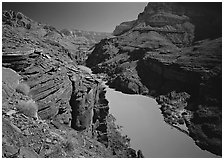 Colorado River between Tapeats Creek and Deer Creek. Grand Canyon National Park, Arizona, USA. (black and white)