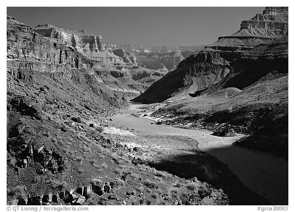 Colorado River at the bottom of the Grand Canyon. Grand Canyon  National Park (black and white)