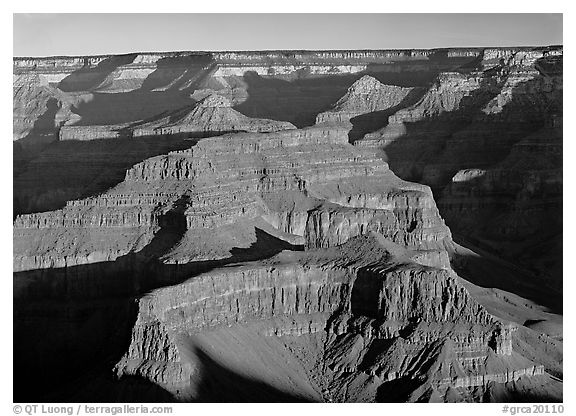 Buttes inside the canyon. Grand Canyon  National Park (black and white)
