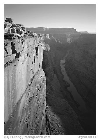 Cliff and Colorado River from Toroweap, sunrise. Grand Canyon  National Park (black and white)