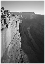 Cliff and Colorado River from Toroweap, sunrise. Grand Canyon National Park, Arizona, USA. (black and white)