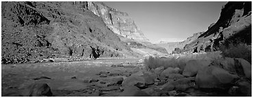Colorado River at the confluence with Tapeats Creek. Grand Canyon National Park (Panoramic black and white)