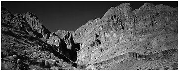 Towering cliffs. Grand Canyon National Park (Panoramic black and white)