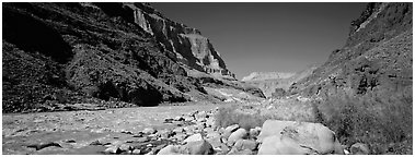Inner Canyon landscape. Grand Canyon National Park (Panoramic black and white)