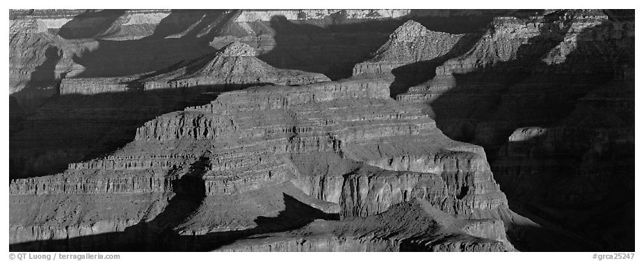 Canyon buttes. Grand Canyon National Park (black and white)