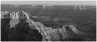 Landscape from Point Sublime. Grand Canyon National Park (Panoramic black and white)