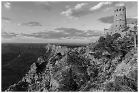 Indian Watchtower and canyon at sunset. Grand Canyon National Park ( black and white)