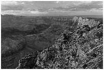 Palissades of the Desert at sunset. Grand Canyon National Park ( black and white)