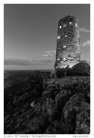 Indian Watchtower at Desert View, dusk. Grand Canyon National Park (black and white)