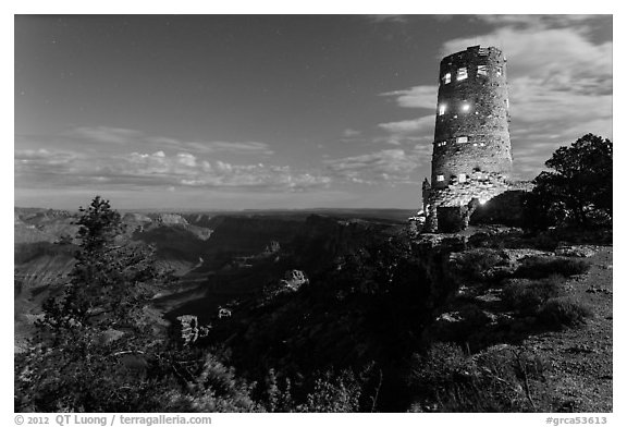 Mary Jane Colter Desert View Watchtower at night. Grand Canyon National Park (black and white)