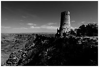 Desert View Watchtower and moonlit canyon. Grand Canyon National Park, Arizona, USA. (black and white)