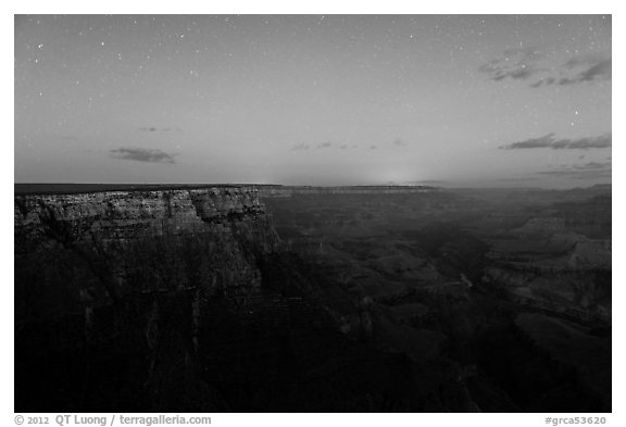 View from Moran Point with late night stars. Grand Canyon National Park (black and white)