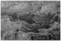Colorado river gorge and buttes at dawn. Grand Canyon National Park ( black and white)