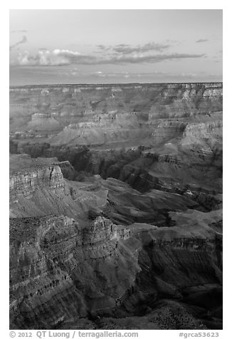 View from Moran Point at dawn. Grand Canyon National Park (black and white)