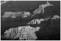 Shadows and ridges from Moran Point. Grand Canyon National Park, Arizona, USA. (black and white)