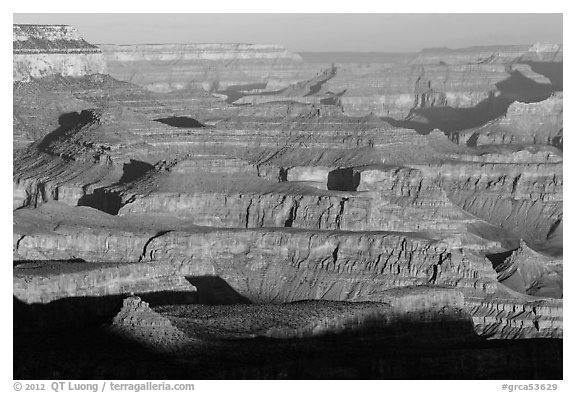Ridges, Moran Point. Grand Canyon National Park (black and white)
