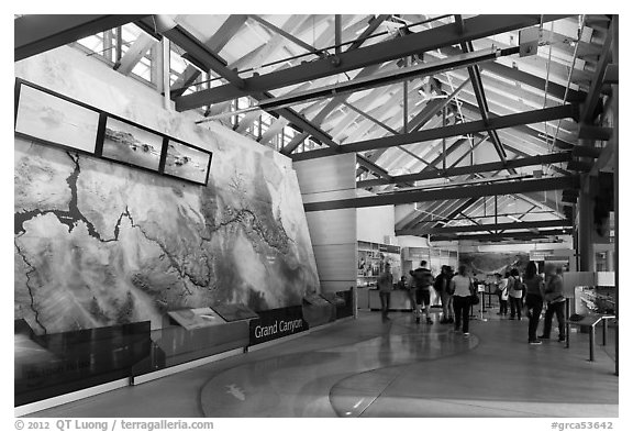 Inside main visitor center. Grand Canyon National Park (black and white)