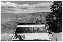 Mather Point interpretative sign. Grand Canyon National Park, Arizona, USA. (black and white)