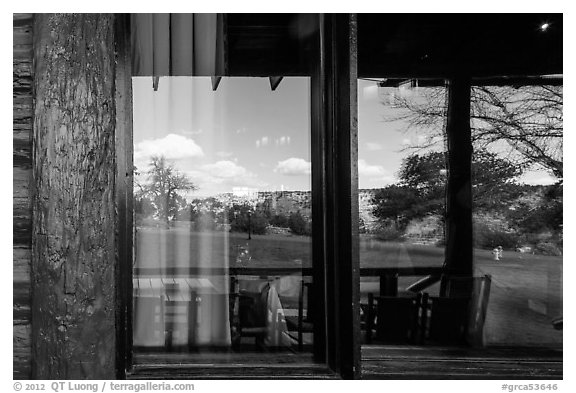 South Rim, El Tovar Hotel restaurant window reflexion. Grand Canyon National Park (black and white)