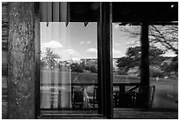South Rim, El Tovar Hotel restaurant window reflexion. Grand Canyon National Park ( black and white)