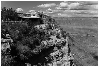 Lookout Studio designed by Mary Coulter to blend with surroundings. Grand Canyon National Park ( black and white)