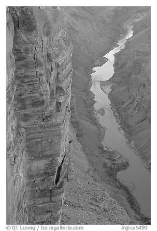 Cliffs and Colorado River, Toroweap. Grand Canyon National Park (black and white)