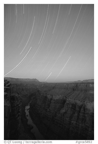 Star trails and narrow gorge of  Colorado River at Toroweap. Grand Canyon National Park (black and white)
