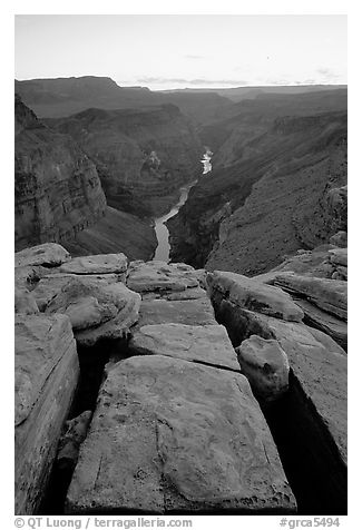 Cracks and Colorado River at Toroweap, dusk. Grand Canyon National Park (black and white)