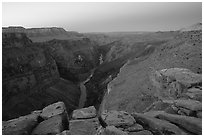 Cracked rocks and Colorado River at Toroweap, dawn. Grand Canyon National Park ( black and white)