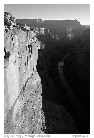 Vertical cliff and Colorado River at Toroweap. Grand Canyon National Park (black and white)