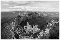 Wotan's Throne seen from Cape Royal, early morning. Grand Canyon National Park, Arizona, USA. (black and white)