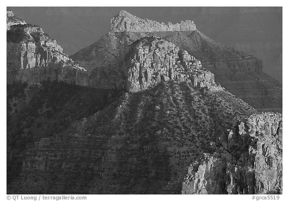 Towers seen from Point Sublime, sunset. Grand Canyon National Park (black and white)