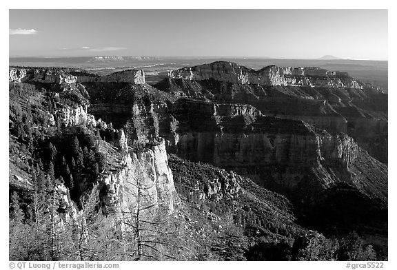Cliffs seen from Point Imperial at sunrise. Grand Canyon National Park (black and white)
