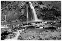 Travertine formations and Havasu falls. Grand Canyon National Park ( black and white)