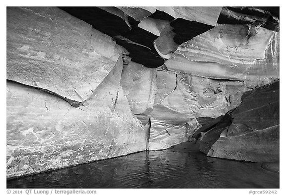 Angular sandstone walls at Colorado River edge. Grand Canyon National Park (black and white)