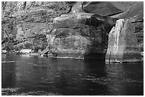 Red rocks and reflections in Colorado River. Grand Canyon National Park ( black and white)