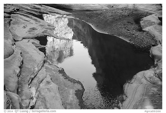 Cliffs reflected in pool, North Canyon. Grand Canyon National Park (black and white)