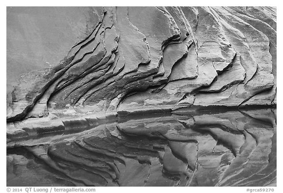 Sandstone rock layers and reflections, North Canyon. Grand Canyon National Park (black and white)