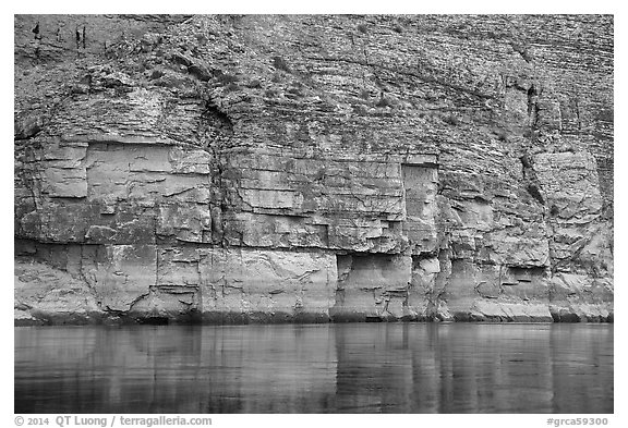 Geometric cliffs and reflections, Marble Canyon. Grand Canyon National Park (black and white)