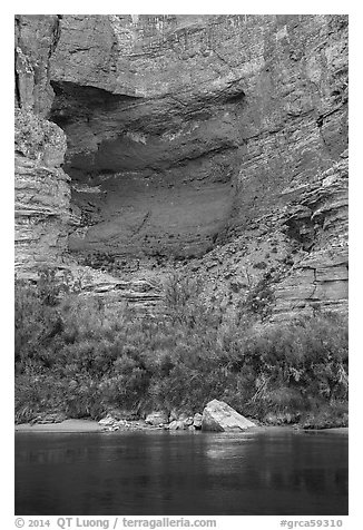 Colorado River and alcove in Redwall limestone. Grand Canyon National Park (black and white)