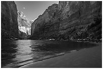 River beach and Redwall canyon walls, Marble Canyon. Grand Canyon National Park ( black and white)