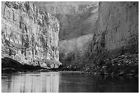 River-level view of redwalls in Marble Canyon. Grand Canyon National Park ( black and white)