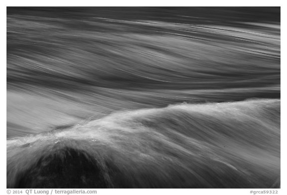 Fast moving water in rapids. Grand Canyon National Park (black and white)