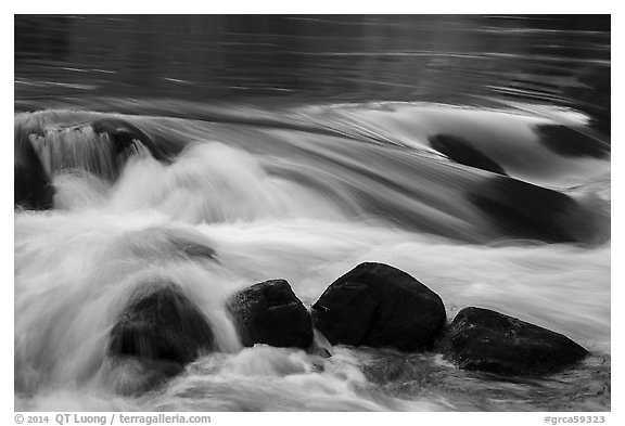 Boulders and rapids. Grand Canyon National Park (black and white)