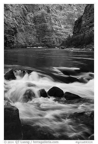 Colorado River rapids. Grand Canyon National Park (black and white)