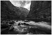 Rapids and boulders in Marble Canyon. Grand Canyon National Park ( black and white)