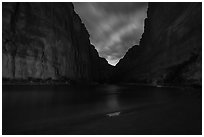 Marble Canyon, clouds, and stars. Grand Canyon National Park ( black and white)