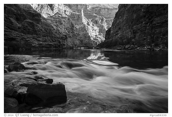 Rapids and reflections, early morning, Marble Canyon. Grand Canyon National Park (black and white)
